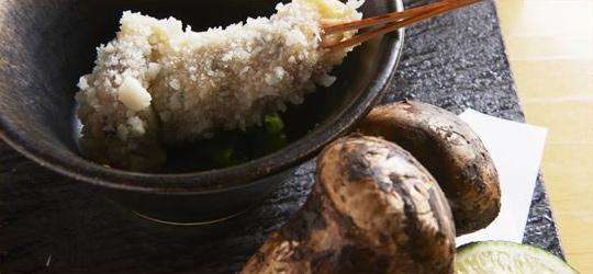 松茸の串揚げ すだちと出汁で